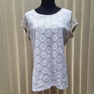 Liz Claiborne Short Sleeve Top Oatmeal/White